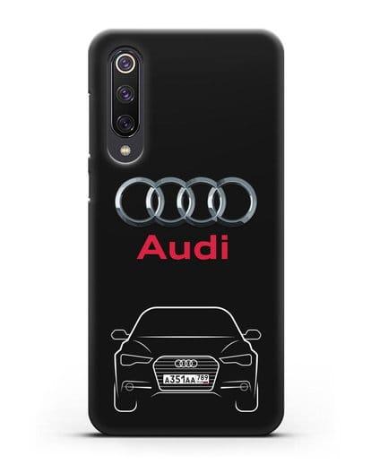 Чехол Audi A6 с номерным знаком силикон черный для Xiaomi Mi 9 SE
