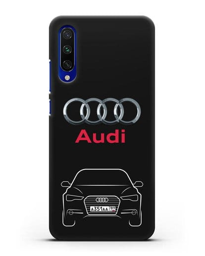 Чехол Audi A6 с номерным знаком силикон черный для Xiaomi Mi A3