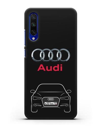Чехол Audi A6 с номерным знаком силикон черный для Xiaomi Mi CC9 E