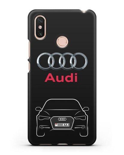 Чехол Audi A6 с номерным знаком силикон черный для Xiaomi Mi Max 3