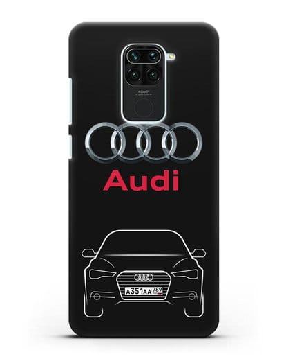 Чехол Audi A6 с номерным знаком силикон черный для Xiaomi Redmi 10X