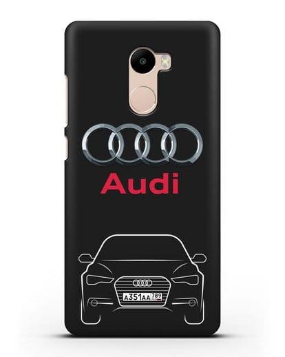 Чехол Audi A6 с номерным знаком силикон черный для Xiaomi Redmi 4