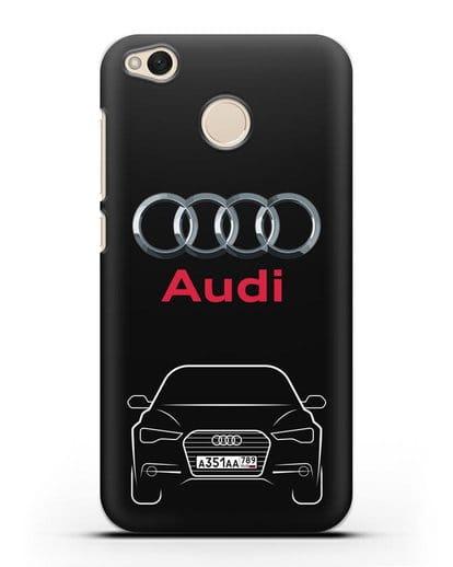 Чехол Audi A6 с номерным знаком силикон черный для Xiaomi Redmi 4X