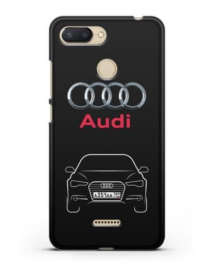 Чехол Audi A6 с номерным знаком силикон черный для Xiaomi Redmi 6