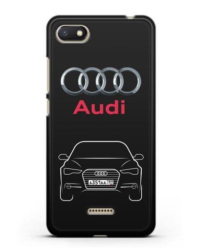 Чехол Audi A6 с номерным знаком силикон черный для Xiaomi Redmi 6A