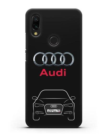 Чехол Audi A6 с номерным знаком силикон черный для Xiaomi Redmi 7
