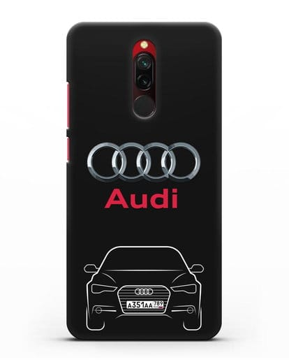 Чехол Audi A6 с номерным знаком силикон черный для Xiaomi Redmi 8