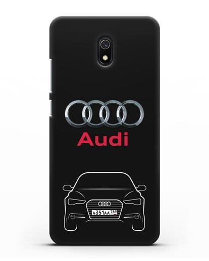 Чехол Audi A6 с номерным знаком силикон черный для Xiaomi Redmi 8A