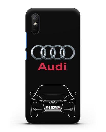 Чехол Audi A6 с номерным знаком силикон черный для Xiaomi Redmi 9A