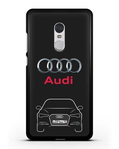 Чехол Audi A6 с номерным знаком силикон черный для Xiaomi Redmi Note 4