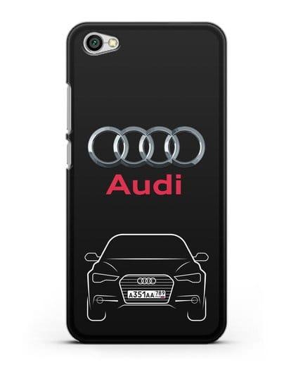 Чехол Audi A6 с номерным знаком силикон черный для Xiaomi Redmi Note 5A