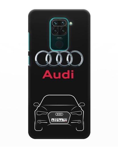 Чехол Audi A6 с номерным знаком силикон черный для Xiaomi Redmi Note 9