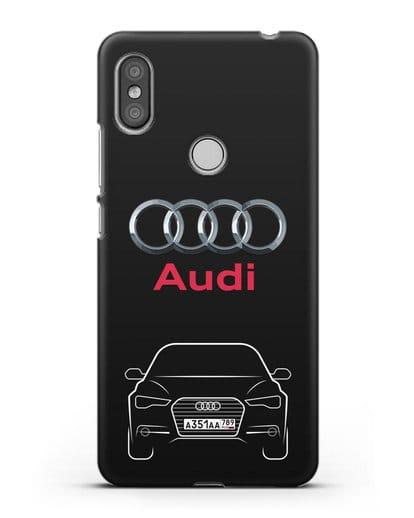 Чехол Audi A6 с номерным знаком силикон черный для Xiaomi Redmi S2