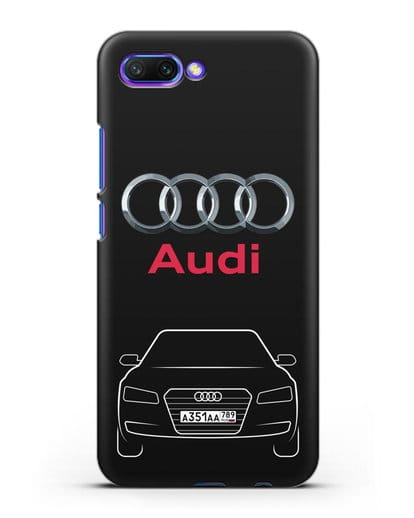 Чехол Audi A8 с номерным знаком силикон черный для Honor 10