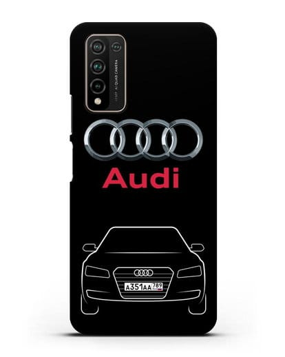 Чехол Audi A8 с номерным знаком силикон черный для Honor 10X Lite