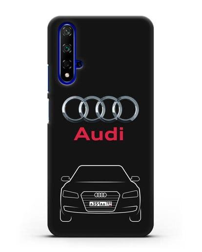 Чехол Audi A8 с номерным знаком силикон черный для Honor 20