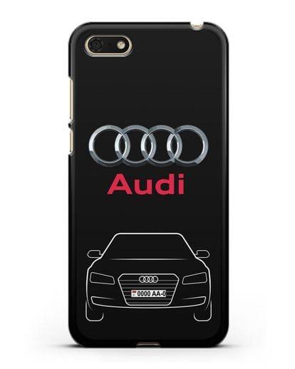 Чехол Audi A8 с номерным знаком силикон черный для Honor 7А