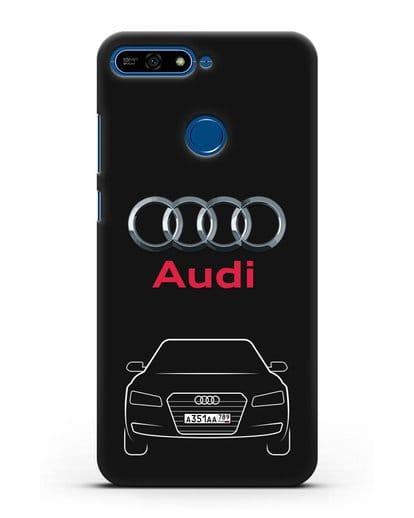 Чехол Audi A8 с номерным знаком силикон черный для Honor 7А Pro