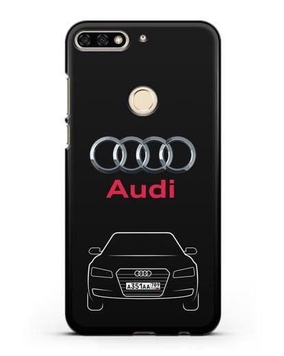 Чехол Audi A8 с номерным знаком силикон черный для Honor 7C