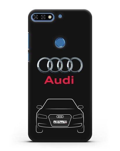 Чехол Audi A8 с номерным знаком силикон черный для Honor 7C Pro