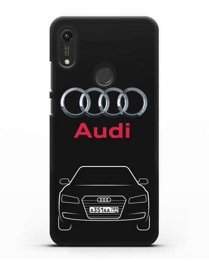 Чехол Audi A8 с номерным знаком силикон черный для Honor 8A Prime