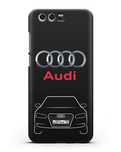 Чехол Audi A8 с номерным знаком силикон черный для Honor 9