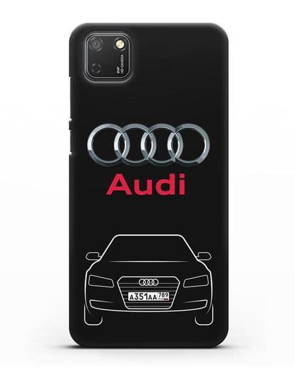 Чехол Audi A8 с номерным знаком силикон черный для Honor 9S