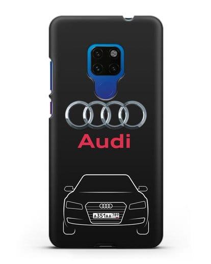 Чехол Audi A8 с номерным знаком силикон черный для Huawei Mate 20
