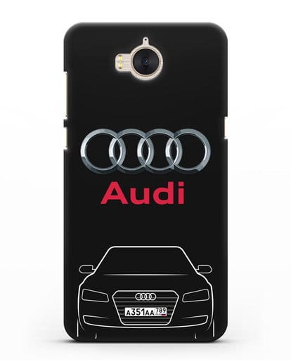 Чехол Audi A8 с номерным знаком силикон черный для Huawei Y5 2017