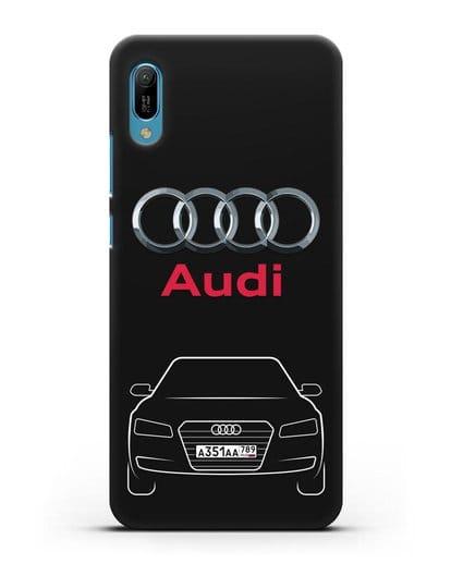Чехол Audi A8 с номерным знаком силикон черный для Huawei Y6 2019