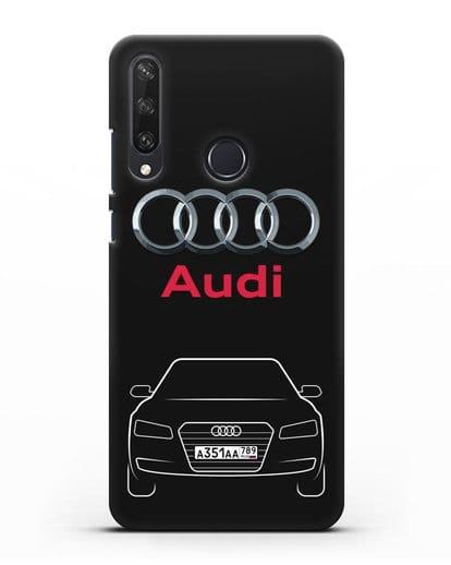 Чехол Audi A8 с номерным знаком силикон черный для Huawei Y6P