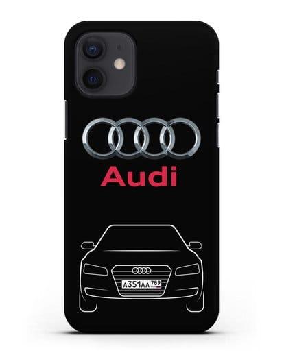 Чехол Audi A8 с номерным знаком силикон черный для iPhone 12