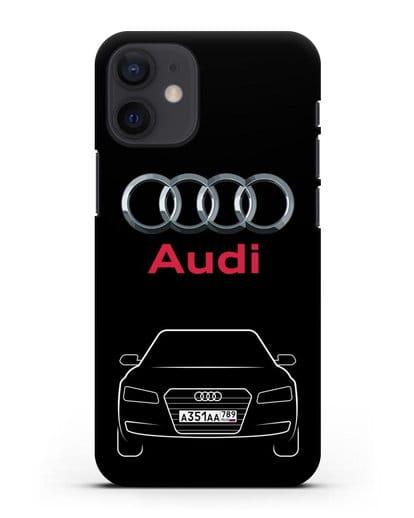 Чехол Audi A8 с номерным знаком силикон черный для iPhone 12 mini