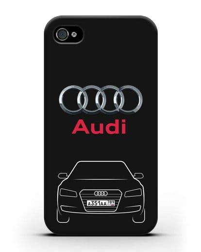 Чехол Audi A8 с номерным знаком силикон черный для iPhone 4/4s