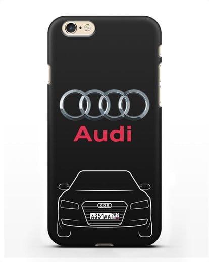 Чехол Audi A8 с номерным знаком силикон черный для iPhone 6