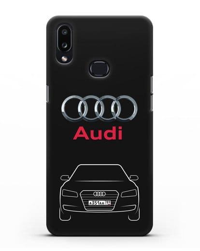 Чехол Audi A8 с номерным знаком силикон черный для Samsung Galaxy A10s [SM-F107F]
