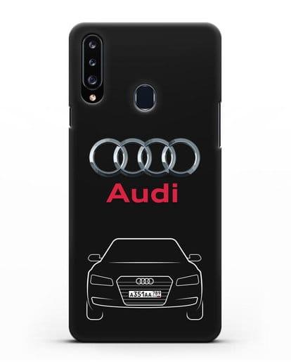 Чехол Audi A8 с номерным знаком силикон черный для Samsung Galaxy A20s [SM-A207FN]