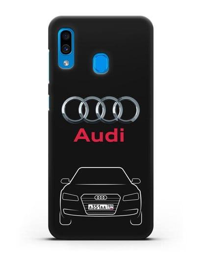 Чехол Audi A8 с номерным знаком силикон черный для Samsung Galaxy A30 [SM-A305FN]