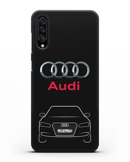 Чехол Audi A8 с номерным знаком силикон черный для Samsung Galaxy A30s [SM-A307FN]