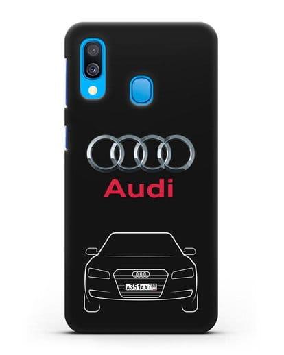 Чехол Audi A8 с номерным знаком силикон черный для Samsung Galaxy A40 [SM-A405F]