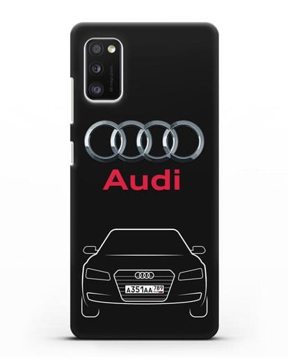 Чехол Audi A8 с номерным знаком силикон черный для Samsung Galaxy A41 [SM-A415F]