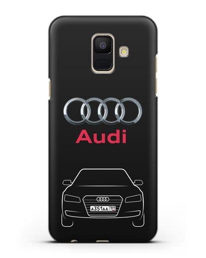 Чехол Audi A8 с номерным знаком силикон черный для Samsung Galaxy A6 2018 [SM-A600F]