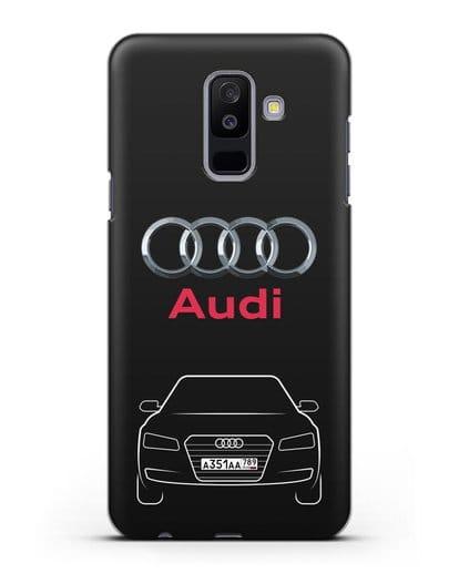 Чехол Audi A8 с номерным знаком силикон черный для Samsung Galaxy A6 Plus 2018 [SM-A605F]