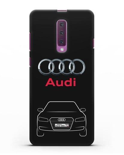 Чехол Audi A8 с номерным знаком силикон черный для Samsung Galaxy A90 [SM-A908N]