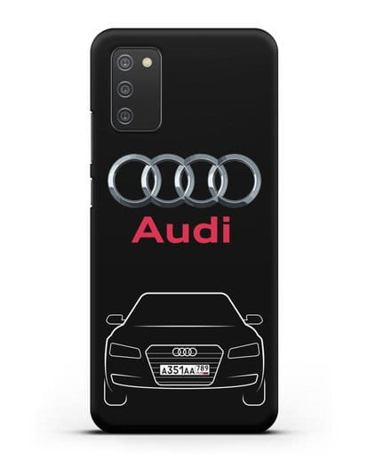 Чехол Audi A8 с номерным знаком силикон черный для Samsung Galaxy A02s [SM-A025F]