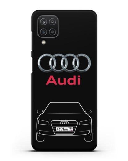 Чехол Audi A8 с номерным знаком силикон черный для Samsung Galaxy A12 [SM-A125F]