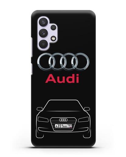 Чехол Audi A8 с номерным знаком силикон черный для Samsung Galaxy A32 5G [SM-A326B]