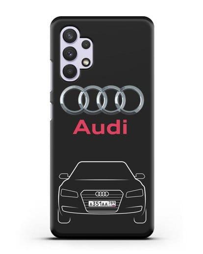 Чехол Audi A8 с номерным знаком силикон черный для Samsung Galaxy A32 4G [SM-A325F]