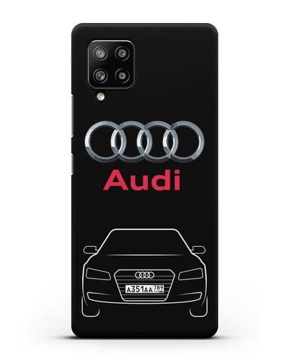 Чехол Audi A8 с номерным знаком силикон черный для Samsung Galaxy A42 [SM-A426B]