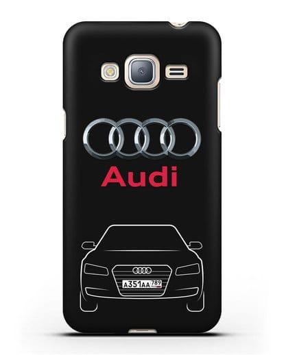 Чехол Audi A8 с номерным знаком силикон черный для Samsung Galaxy J3 2016 [SM-J320F]